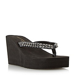 Head Over Heels by Dune - Black diamante toe post wedge sandal