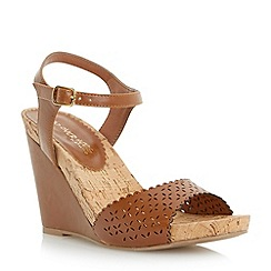Head Over Heels by Dune - Tan 'Kelsie' laser cut wedge sandal