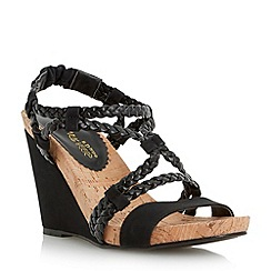 Head Over Heels by Dune - Black plaited strap wedge sandal