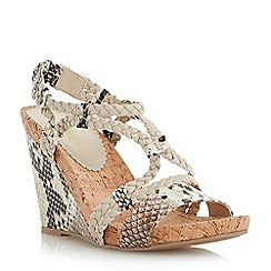 Head Over Heels by Dune - Neutral plaited strap wedge sandal