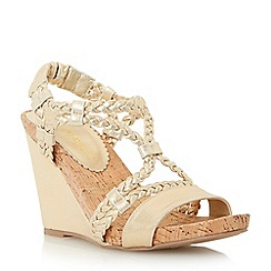 Head Over Heels by Dune - Gold 'Kendra' plaited strap wedge sandal