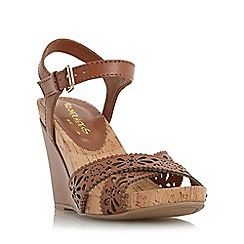 Head Over Heels by Dune - Tan 'Kamilla' laser cut wedge sandal