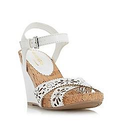 Head Over Heels by Dune - White 'Kamilla' laser cut wedge sandal