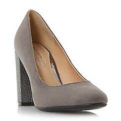 Head Over Heels by Dune - Grey 'Amy' block heel round toe court shoe
