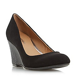 Head Over Heels by Dune - Black 'Angie' reptile print wedge heel court shoe