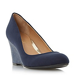Head Over Heels by Dune - Navy 'Angie' reptile print wedge heel court shoe