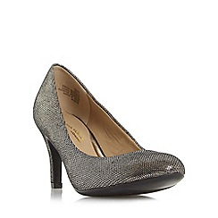 Head Over Heels by Dune - Silver 'Annie' round toe mid heel court shoe