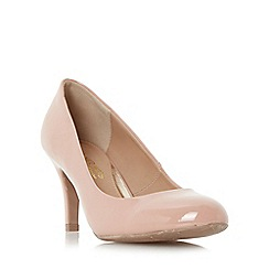Head Over Heels by Dune - Natural 'Annie' round toe mid heel court shoe