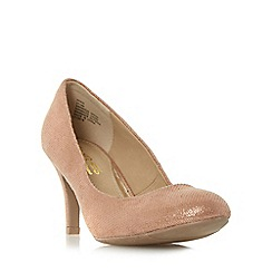 Head Over Heels by Dune - Gold 'Annie' round toe mid heel court shoe