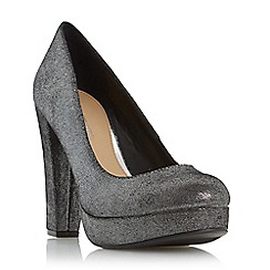 Head Over Heels by Dune - Silver 'Adele' platform high heel court shoe