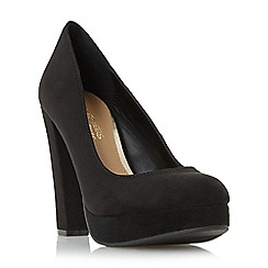 Head Over Heels by Dune - Black 'Adele' platform high heel court shoe