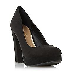 Head Over Heels by Dune - Black 'Adele' platform high heel court shoe