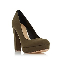 Head Over Heels by Dune - Green 'Adele' platform high heel court shoes