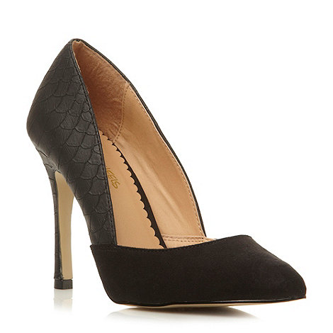 Head Over Heels by Dune - Black pointed toe high heeled court shoe