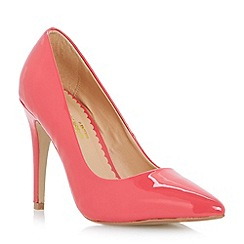 Head Over Heels by Dune - Coral patent 'Audrine' pointed toe court shoe