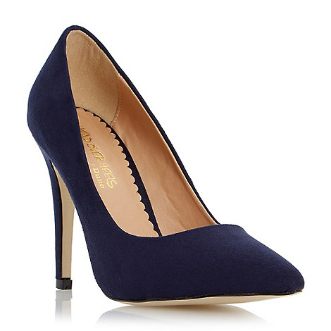 Head Over Heels by Dune - Blue pointed toe court shoe