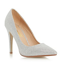 Head Over Heels by Dune - Silver glitter 'Audrine' pointed toe court shoe