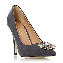 Head Over Heels by Dune - Grey pointed toe jewel trim court shoe