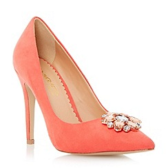 Head Over Heels by Dune - Red pointed toe jewel trim court shoe