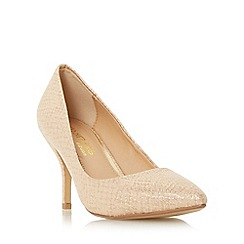 Head Over Heels by Dune - Natural 'Andrina' pointed toe mid heel court shoe