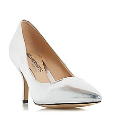 Head Over Heels by Dune - Silver 'Andrina' pointed toe mid heel court shoe