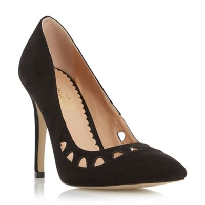 Head Over Heels by Dune Black Aroura pointed toe cut out