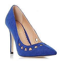 Head Over Heels by Dune - Blue 'Aroura' pointed toe cut out high heel court shoe