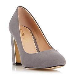 Head Over Heels by Dune - Grey 'Arista' metal insert block heel court