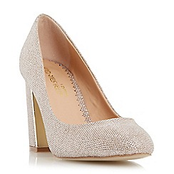 Head Over Heels by Dune - Gold 'Arista' metal insert block heel court