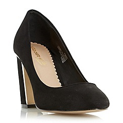 Head Over Heels by Dune - Black 'Arista' metal insert block heel court