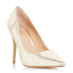 Head Over Heels by Dune - Gold 'Almeda' metal high heel court shoe