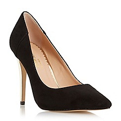 Head Over Heels by Dune - Black 'Almeda' metal high heel court shoe
