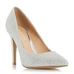 Head Over Heels by Dune - Silver 'Addyson' pointed toe high heel court shoe