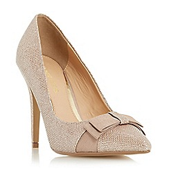 Head Over Heels by Dune - Gold 'Bailie' pointed toe bow detail court shoe
