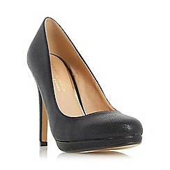 Head Over Heels by Dune - Black 'Andrea' round toe heeled platform court shoe