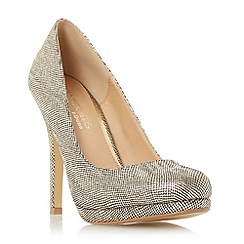 Head Over Heels by Dune - Gold 'Andrea' round toe heeled platform court shoe