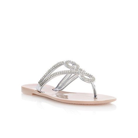 Head Over Heels by Dune - Neutral looped diamante trim jelly sandal