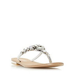 Head Over Heels by Dune - Silver 'Navada' embellished toe post flat sandal