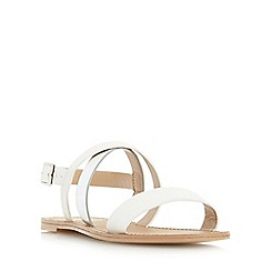 Head Over Heels by Dune - White 'Nana' cross strap flat sandal