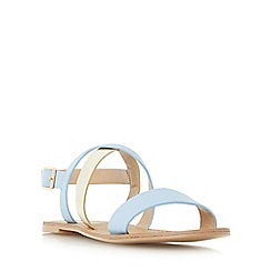Head Over Heels by Dune - Blue 'Nana' cross strap flat sandal