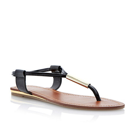 Head Over Heels by Dune - Black metal bar toe post sandal