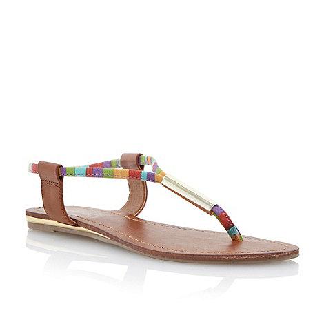 Head Over Heels by Dune - Tan metal bar toe post sandal