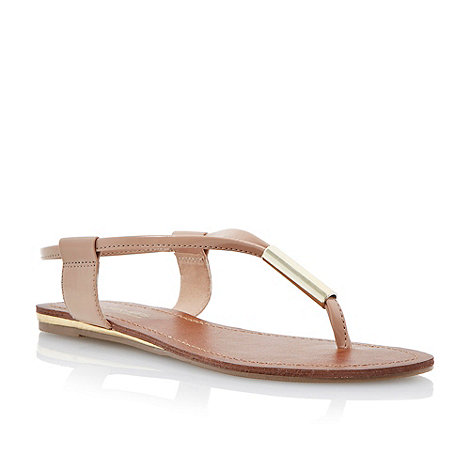 Head Over Heels by Dune - Nude metal bar toe post sandal