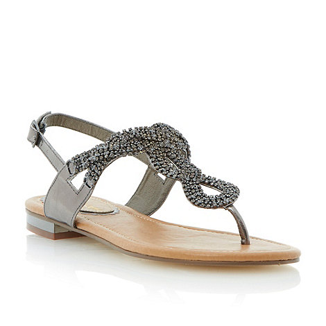 Head Over Heels by Dune - Metallic diamante embellished twist vamp toe post sandal