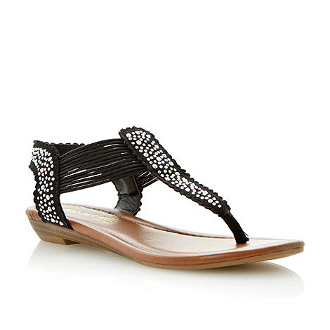 Head Over Heels by Dune - Black diamante toe post sandal