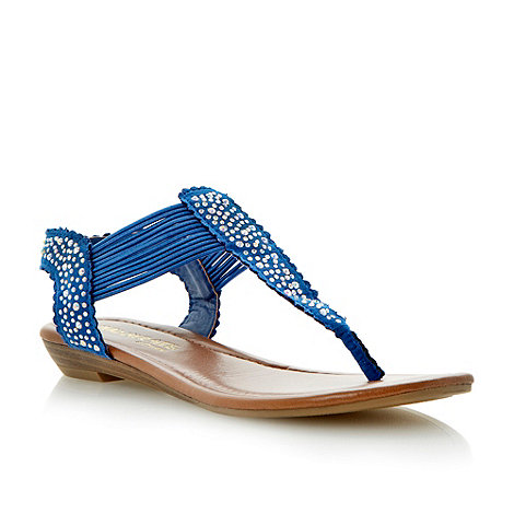 Head Over Heels by Dune - Blue diamante toe post sandal