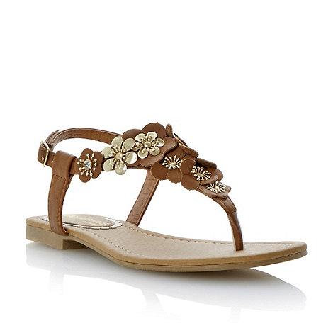 Head Over Heels by Dune - Brown flower detail toe post sandal