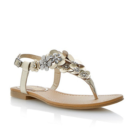 Head Over Heels by Dune - Metallic flower detail toe post sandal