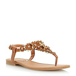 Head Over Heels by Dune - Brown flower detail toe post  sandal