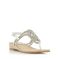 Head Over Heels by Dune - Silver 'Nixon' embellished toe post mini wedge sandal